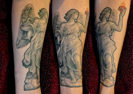 Nate Beavers - Nate Beavers Black and Gray Bernini Angel Statue Tattoo